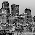 Kansas City Skyline At Dawn - Monochrome by Gregory Ballos