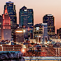 Kansas City Skyline At Red Dawn by Gregory Ballos