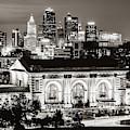 Kansas City Skyline Twilight - Square Format Classic Sepia by Gregory Ballos