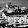 Kansas City Skyline Twilight - Square Format Monochrome by Gregory Ballos