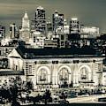 Kansas City Skyline Twilight - Square Format Sepia by Gregory Ballos