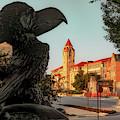 Kansas Jayhawk Statue And University Skyline by Gregory Ballos