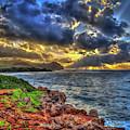 Kauai Sunrise Seascape Mahaulepu Beach Kauai Hawaii Art by Reid Callaway