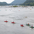 Kayakers And Tubers Ride The Shenandoah River Into The Potomac A by William Kuta