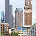 King Street Station Clock Tower Seattle Washington R1417 by Wingsdomain Art and Photography