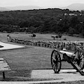 King William Artillery Marker In Black And White Gettysburg by James Brunker