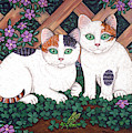 Kittens And Clover by Linda Mears