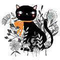 Kitty Kitty Sitting Pretty With Flowers All Around by Little Bunny Sunshine