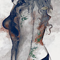 Koi No Yokan - Blue Rust - Erotic Drawing, Sexy Tattoo Girl In Thong Biting An Apple by Marco Paludet