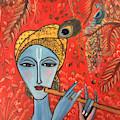 Krishna With Flute by Sreekala Nambiar
