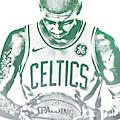 Kyrie Irving Boston Celtics Water Color Pixel Art 30 by Joe Hamilton