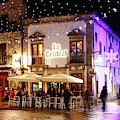 La Central Cafe At Christmas Vigo Galicia by James Brunker