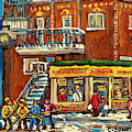 La Chilenita Mexican Eatery Hockey Art Corner Cafe Rue Roy And Debullion C Spandau Quebec Artist by Carole Spandau