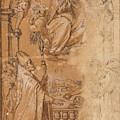 La Virgen En Gloria Apareciendose A Varios Santos  by Anonimo