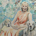 Lady And Dogs In Rose Garden by Ryn Shell