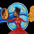African Goddess Lady In Red Afrocentric Art Mother Earth Black Woman Art by Ai P Nilson