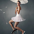 Lady On A Unicycle by Johan Swanepoel