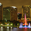 Lake Eola Fountain At Night by Stefan Mazzola