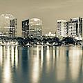 Lake Eola Skyline Panorama - Orlando Florida Sepia by Gregory Ballos