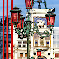 Lamp Post Colors At The Piazza San Marco In Venice by John Rizzuto