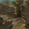 Landscape With Rocks  Augerville  by Eug  ne Delacroix