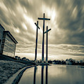 Large Crosses Under Amazing Skies - Sepia by Gregory Ballos