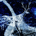 Lascaux Hall Of The Bulls - Jumping Deer - Blue by Weston Westmoreland