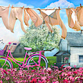 Laundry Day Watercolors Painting  by Debra and Dave Vanderlaan
