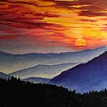 Laurens Sunset And Mountains by Lisa Rose Musselwhite