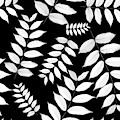 Leaf Pattern Black And White by Christina Rollo
