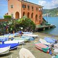 Levanto Boats Cinque Terre Italy Painterly by Joan Carroll