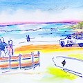 Lifeguards And Surfer At Fistral Beach Coloured Pencils by Mike Jory