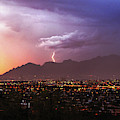 Lightning Bolt Over The Santa Catalina Mountains And Tucson, Arizona by Chance Kafka
