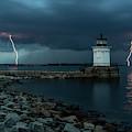 Lightning Strikes At Bug Light by Jesse MacDonald