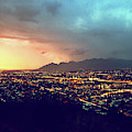 Lights Of Tucson, Arizona During Monsoon Sunset Rains by Chance Kafka