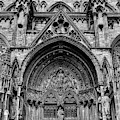 Lincoln Cathedral Side Entrance Monochrome by Scott Lyons