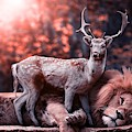 Lion And Reindeer by Top Wallpapers