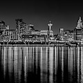 Liverpool Skyline In The Night Black And White by Paul Madden