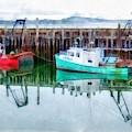 Lobster Boats Prince Edward Island Watercolor by Edward Fielding