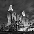 Logan Temple Glowing Under The Clouds Black And White by Adam Jewell