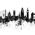 London Black And White Watercolor Skyline Silhouette by Marian Voicu