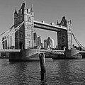 London England Tower Bridge And Skyline Blue Sky Black And White by Toby McGuire