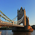 London England Tower Bridge Side View Blue Sky by Toby McGuire
