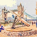 London Tower Bridge With The Giant Compass by Nigel Dudson