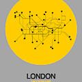 London Yellow Subway Map by Naxart Studio