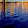 Long Reflections Of Downtown West Palm Beach Abstract Painting by Debra and Dave Vanderlaan