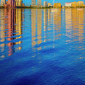 Long Reflections Of Downtown West Palm Beach In Nautical Blues P by Debra and Dave Vanderlaan