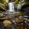 Looking Glass Falls Autumn Setting by Donnie Whitaker