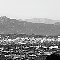 Los Angeles Panoramic Skyline And Mountain Landscape - Monochrome by Gregory Ballos