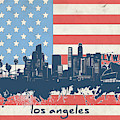 Los Angeles Skyline Flag by Bekim Art